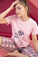 Strawberry Kadın Somon Pamuklu Baskılı Kapri Takım