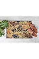 Evsebu Dekoratif Kapı Önü Paspası Welcome Eskitme Taş Zemin
