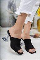 Birol Ayakkabı Kadın Siyah Şeffaf Topuklu Triko Terlik