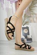 Matilla Kadın Siyah Hasır Sandalet