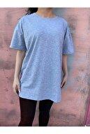 Grenj Fashion Kadın Gri %100 Pamuk Bisiklet Yaka Oversize Örme Tshirt