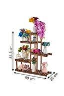 Vip Home Portatif Ahşap Saksılık Çiçeklik Standı Ahşap Çiçek Rafı Kaliteli Vda-118