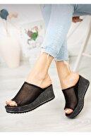 yaren shoes Kadın Siyah File Detaylı Burnu Açık Terlik