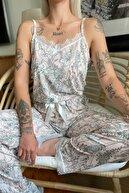 Pijamaevi Kadın Pembe Çiçek Dantelli Ip Askılı Örme Pijama Takımı