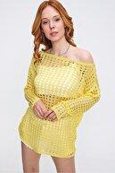 CHUBA Kadın Nostaljik Ajurlu Sarı Triko Kazak 21s316