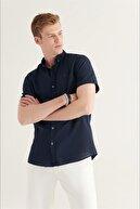 Avva Erkek Lacivert Düz Düğmeli Yaka Slim Fit Kısa Kol Vual Gömlek A11b2210