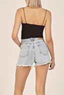 its basic Kadın Mavi Ice Kot Renk Lazer Detaylı Straight Fit Jean Şort