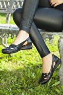 Deripabuc Hakiki Deri Siyah Kadın Deri Babet Trc-4002