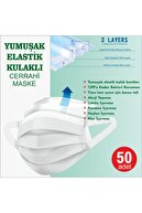 LASERA Yumuşak Elastik Kulaklı Yeni Nesil Maske 50 Adet Mavi