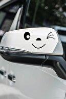Dijitalya 2 Adet Smile Gülücük Sticker   Kaput - Bagaj - Cam - Leptop - Ayna   Siyah