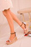 Soho Exclusive Pudra-Mavi Kadın Dolgu Topuklu Ayakkabı 16307