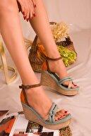 Soho Exclusive Yeşil-Turuncu Kadın Dolgu Topuklu Ayakkabı 16307