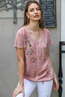 Chiccy Kadın Somon Kırlangıç Kuşu Baskılı Pullu Cepli Etek Ucu İp Bağlamalı Dokuma Bluz M10010200BL95288