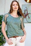 Chiccy Kadın Yeşil Omuzları Lazer Kesim Detaylı Yıkamalı T-Shirt M10010300TS98224
