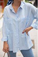 BEŞİR GİYİM Kadın Mavi Büyük Cepli Oversize Gömlek