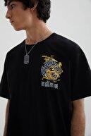 Pull & Bear Erkek Siyah Stwd Sloganlı T-shirt