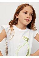 Mango Kız Çocuk Beyaz Pul Işlemeli Tişört