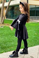 Riccotarz Kız Çocuk Volanlı Kurdale Detaylı Siyah Kadife Elbise