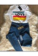 Vera Boutique Kadın Beyaz Love Baskılı Tshirt
