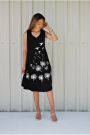 MGS LİFE Kadın Siyah Kolsuz Kuş Baskılı Büyük Beden Elbise