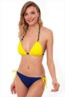 AYYILDIZ Kadın Sarı Lacivert Üçgen Kesim Bikini Takım 40700