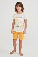 Penti Erkek Çocuk Sarı Beyaz Baskılı Pijama Takımı