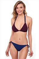 AYYILDIZ Kadın Bordo Mavi Üçgen Kesim Bikini Takım 40700