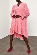 Xena Kadın Pembe V Yaka Gofre Elbise 1YZK6-11809-20
