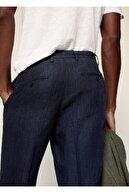 Mango Erkek Lacivert Pilili Keten Pantolon