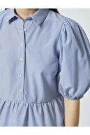 Koton Kadın Poplin Bluz Balon Kol Gömlek Yaka Çizgili