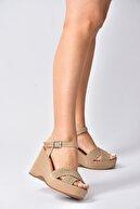 Fox Shoes Ten Süet Kadın Dolgu Topuklu Ayakkabı K250909002