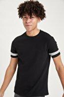 Defacto Erkek Siyah Slim Fit Bisiklet Yaka Şerit Detaylı Kısa Kollu  T-Shirt