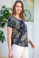 Chiccy Kadın Haki Anka Kuşu Taş İşlemeli Cepli Yıkamalı Batik T-Shirt M10010300TS98222