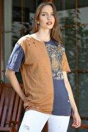 Chiccy Kadın Füme-Camel Sıfır Yaka Bloklu Kaplan Baskılı Lazer Kesikli Yıkamalı T-Shirt M10010300TS98216