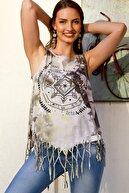 Chiccy Kadın Gri Batik Bohem Baskılı Etek Ucu Saçaklı Yıkamalı Kolsuz T-Shirt M10010300TS98229