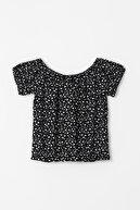 Defacto Kız Çocuk Kalp Desenli Kısa Kollu Crop Bluz