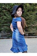 Riccotarz Kız Çocuk Etek Ucu Fırfırlı Şapkalı Denim Elbise