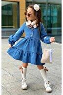 Riccotarz Kız Çocuk Ekru Yakalı Denim Elbise