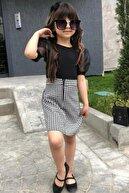 Riccotarz Kız Çocuk Siyah Balon Kol Ekose Etekli Takım