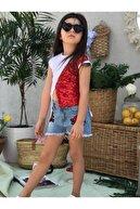 Riccotarz Kız Çocuk Mavi Şortlu Pulpayet Detaylı Gül İşlemeli  Takım