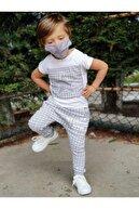 Riccotarz Erkek Çocuk Gri Plaid Studios Maskeli Eşofman Takım