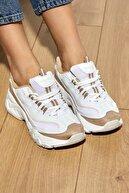 Tonny Black Kadın Bej Bağcıklı Spor Ayakkabı Tb7040