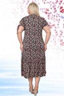 Almira Kadın Siyah Önden Düğmeli Ve Çiçek Desenli Viskon Likralı Kısa Kollu Elbise