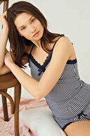 Cottonhill Lacivert Beyaz Çizgili Ince Askılı Şortlu Pamuklu Pijama Takımı