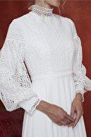 JAQAR Kadın Ekru Vintage Koton Dantel Garnili Gelinlik