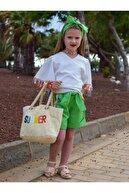 Riccotarz Kız Çocuk Renkli Püskül Detaylı Yeşil Şortlu Takım