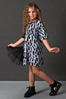 Riccotarz Kız Çocuk Mavi Yarı Dalmaçya Tüllü Elbise