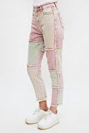 TRENDYOLMİLLA Çok Renkli Bloklu Püskül Detaylı Yüksek Bel Mom Jeans TWOSS21JE0770
