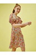 Koton Kadın Pembe Çiçekli Balon Kollu Elbise