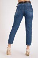 GİYSA Kadın Yüksek Bel Kemerli Mavi Kot Pantolon 2174